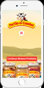 Exemplo de celular com o site do Doce de Leite Portão de Cambuí
